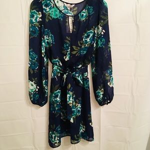 Navy Floral Print Dress Small New W/Tags